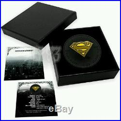 2016 1 Oz Silver $5 SUPERMAN Maple Shield Coin WITH Ruthenium, 24K GOLD GILDED