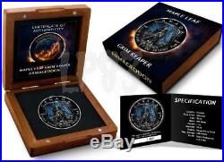2016 1 Oz Silver APOCALYPSE GRIM REAPER Coin WITH 24K BLACK RUTHENIUM