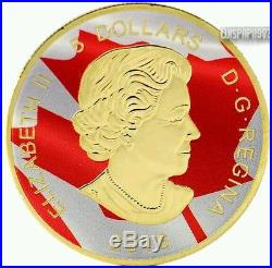 2016 1 Oz Silver Canadian Cougar Coin 999 Gold Gilded Colorized Fire. (Box N Coa)