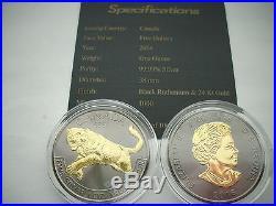 2016 1 Oz Silver Coin Cougar Canadian Blackout Collection Black Ruthenium-24kt