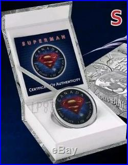 2016 1 Oz Silver Colorized BLUE Superman Coin WITH BOX AND COA