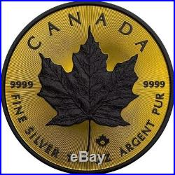 2016 1 Oz Silver MAPLE LEAF SHADOW Coin WITH Ruthenium AND 24K GOLD GILDED