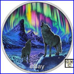 2016 $30fine Silver Coin Northern Lights In The Moonlight-glow In The Dark17569