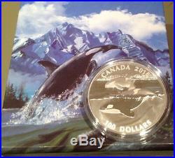 2016 Canada $100 for $100 The Orca 0.9999 Fine Silver Coin