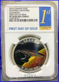 2016 Canada $20 Star Trek Enterprise Proof 1 oz 999 Silver Coin NGC PF 70 UCAM