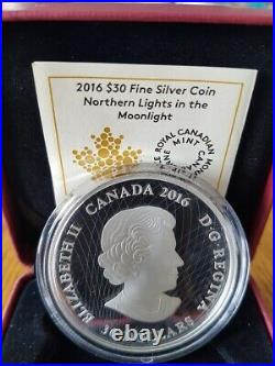 2016 Canada $30 Silver Coin Glow in the Dark Northern Lights in the Moonlight