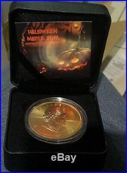 2016 Canada HALLOWEEN MAPLE LEAF $5 SILVER & Gold MAPLE Leaf COIN 1oz ltd 500
