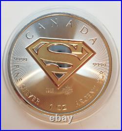 2016 Gilded Silver Superman Shield Edition 1Oz. 999 Canada Coin