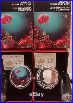 2016 Glow In Dark Illuminated Underwater Coral Reef $30 2OZ Pure Silver Coin