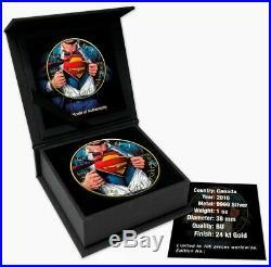 2016 SUPERMAN SHIRT Colorized Gold Gilded 1oz. 9999 Silver Coin Box & COA