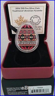 2016 Traditional Ukrainian Pysanka $20 1OZ Egg Shaped Pure Silver Coin Canada