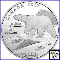 2017Polar Bear-Nature's Impression' Prf $20 Silver Coin 1oz. 9999Fine(NT)(17983)