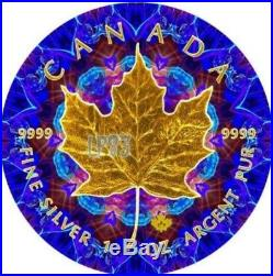 2017 1 Oz Silver BLUE KALEIDOSCOPE Maple Leaf Coin, With 24K GOLD GILDED