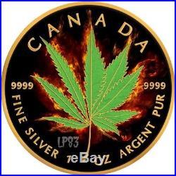 2017 1 Oz Silver BURNING MARIJUANA HYBRID Maple Leaf Coin With RUTHENIUM, 24K GOLD