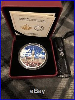 2017 $30 Celebrating Canada Day Glow-in-the-dark Proof Fine 99.99% Silver Coin