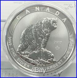 2017 $50 Canada 10 oz. 9999 Fine Silver Silver Grizzly Bear Coin, BU in Capsule