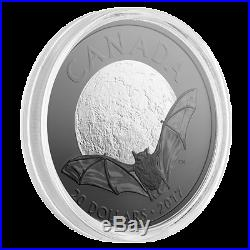 2017 Canada $20 Brown Bat Nocturnal By Nature 1oz Silver Coin (rhodium plated)