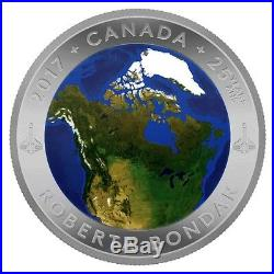 2017 Canada $25 Pure Silver Glow-in-the-Dark Coin View of Canada From Space