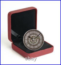 2017 Canada $50 5 oz Silver Peace Tower Clock 90th Annv Antiqued GEM BU OGP
