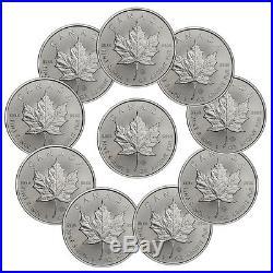 2017 Canada $5 1 oz. Silver Maple Leaf Lot of 10 Coins BU SKU44168