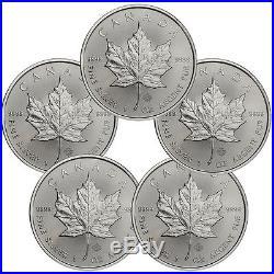 2017 Canada $5 1 oz. Silver Maple Leaf Lot of 5 Coins GEM BU SKU44167