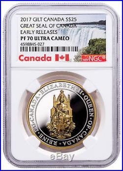 2017 Canada Great Seal 1 oz Silver Gilt Proof $25 Coin NGC PF70 UC ER SKU49405