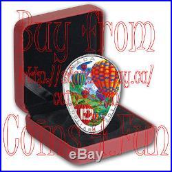 2017 Canada Hot Air Balloons 1 OZ $20 Elliptical Shaped Pure Silver Coin