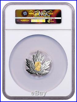 2017 Canada Maple Leaf Shaped 1 oz Silver Gilt $20 Coin NGC PF70 UC ER SKU49089