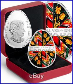 2017 Canada Traditional Ukrainian Pysanka 1OZ $20 Egg Shaped Pure Silver Coin
