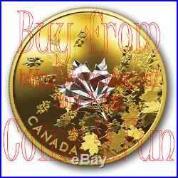 2017 Canada Whispering Maple Leaves 3oz $50 Reverse Gold-Plated Pure Silver Coin