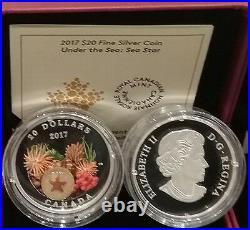 2017 Glass Sea Star Under the Sea $20 1OZ Pure Silver Proof Coloured Coin Canada