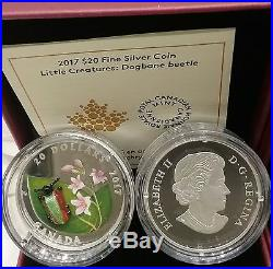 2017 Venetian Murano Glass Little Creatures Dogbane Beetle $20 Pure Silver Coin
