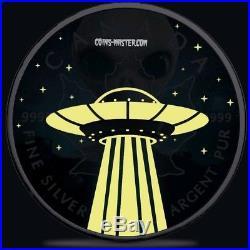 2018 1 Oz Silver $5 CANADIAN UFO & ALIEN MAPLE LEAF Ruthenium Coin
