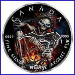 2018 1 oz Apocalypse Grim Reaper III Colored Ruthenium. 999 Silver Coin