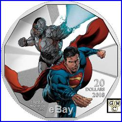 2018 $20 Fine Silver Coin Justice League (TM)Cyborg and Superman (18285) (NT)