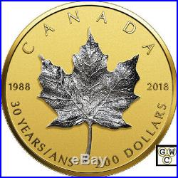 2018'30th Ann. Of the Silver Maple Leaf' Prf $200 Fine Gold Coin(18523) (OOAK)