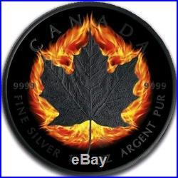 2018 $5 CANADIAN MAPLE LEAF BURNING INCUSE Ruthenium 1 Oz Silver Coin