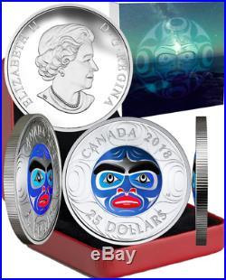 2018 Ancestor Moon Mask $25 1OZ Silver Proof High Relief Coin Canada MastersClub