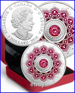 2018 Birthstone January Garnet $5 1/4OZ Pure Silver Proof Coin Canada with Crystal