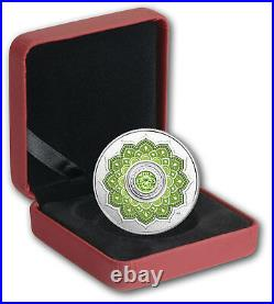 2018 Birthstones August Peridot $5 Pure Silver Proof Coin Canada with Crystal