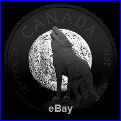 2018 CA $20 Howling Wolf Nocturnal By Nature 1oz Silver Coin (rhodium plated)