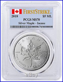 2018 Canada 1 oz Silver Maple Leaf -Incuse $5 Coin PCGS MS70 FS PRESALE SKU52147