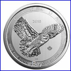 2018 Canada $50 Snowy Owl. 9999 10 Oz Silver Bullion Coin Rare