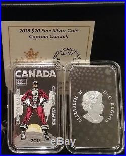 2018 Captain Canuck $20 1OZ Pure Silver Proof Coloured Coin Canada