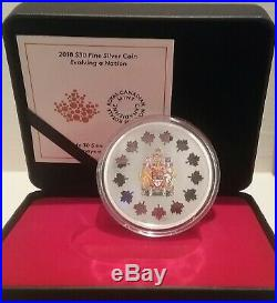 2018 Evolving a Nation $30 51.71grams Pure Silver Proof Coin Canada 50mm