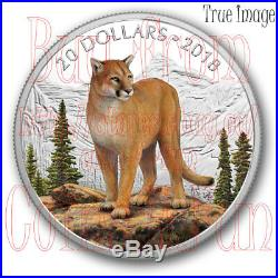 2018 Majestic Wildlife Courageous Cougar 1 OZ $20 Pure Silver Coin Canada