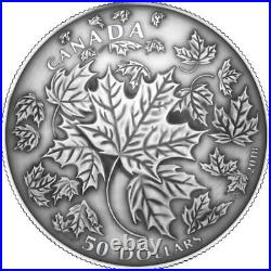 2018'Maple Leaves in Motion' Antique Finish $50 Silver Coin 5oz. 9999Fine(18394)