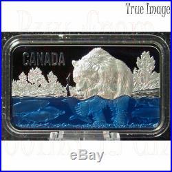 2018 Salmon Run $25 Pure Silver Rectangular UHF Coin with Blue Enamel Canada