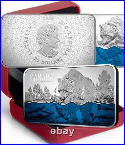 2018 Salmon Run Ultra-High Relief $25 1.5OZ Pure Silver Proof Canada Coin