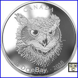 2018'The Great Horned Owl -Zentangle(R) Art' Proof $30 Fine Silver Coin(18513)NT